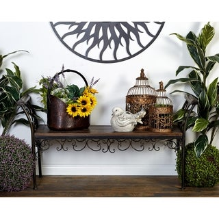 Scrollwork 27-inch Wood Metal Bench