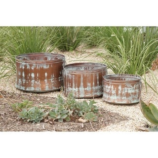 Set of 3 Rustic Round Distressed Drum Planters by Studio 350