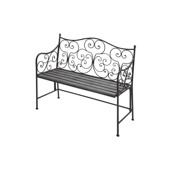Shop 36 Inch Iron And Poplar Wood Bench Free Shipping Today