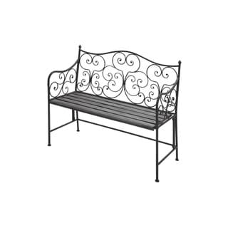36-inch Iron and Poplar Wood Bench