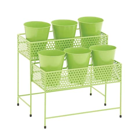 Eclectic 17 x 15 Inch Green Tiered Plant Stand with Pots by Studio 350