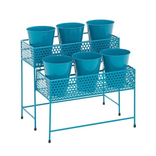 17-inch Metal 2-tier Blue Plant Stand