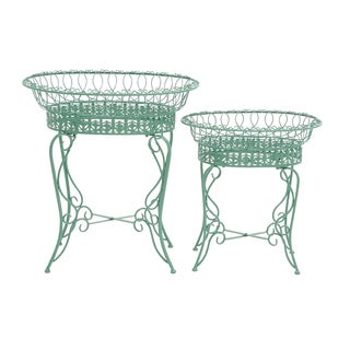 23-inch Teal Metal Plant Stand (Set of 2)