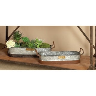 Set of 2 Farmhouse 4 and 5 Inch Gray Oval Planters by Studio 350 - Grey