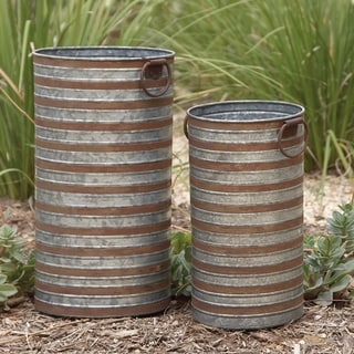 16-inch Metal Galvanized Planter (Set of 2)