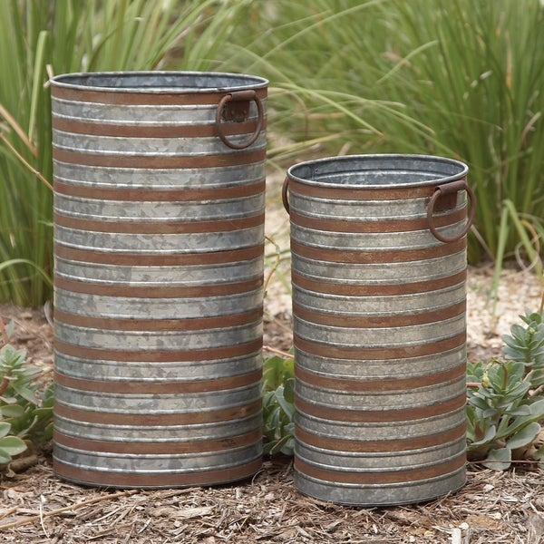 Set of 2 Industrial Galvanized Iron Planters by Studio 350. Opens flyout.
