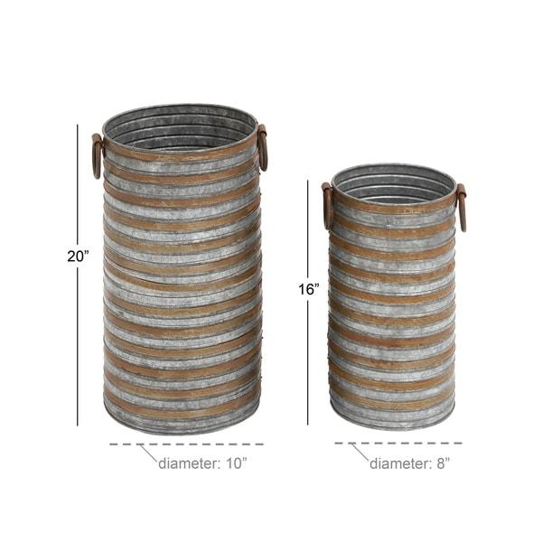 Set of 2 Industrial Galvanized Iron Planters by Studio 350