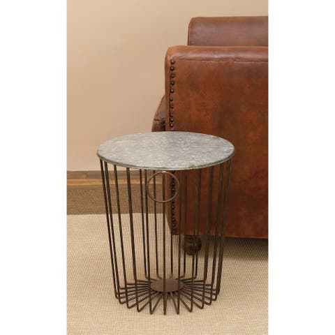Contemporary 18 Inch Cylindrical Gray Metal Wire Stool by Studio 350