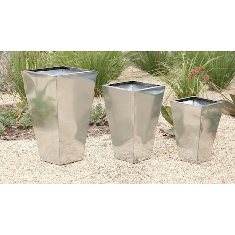 Set of 3 Contemporary 17, 21, and 26 Inch Metal Planters by Studio 350