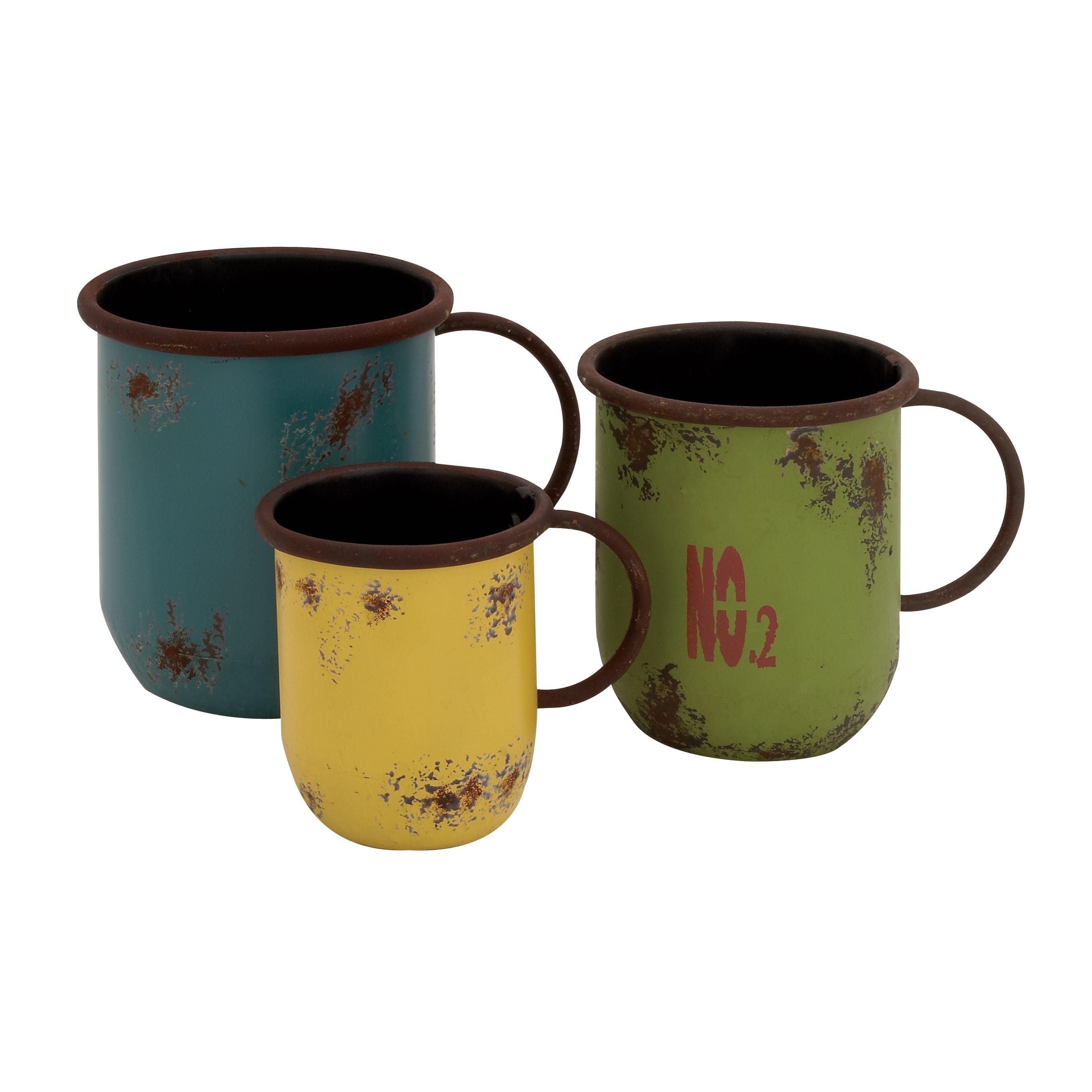 Studio 350 Metal Cup Planter (Set of 3), Yellow #55261, O...