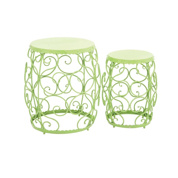 20 Inch Green Metal Stool Set Of 2 Free Shipping Today