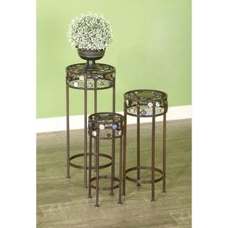 20-inch Metal/ Ceramic Pedestal Plant Stand (Set of 3)