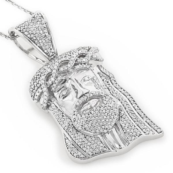 Shop Luxurman 10k Gold 1ct TDW Diamond Diamond Jesus Head Necklace ... 96a4582ca0