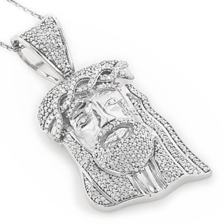 Luxurman 10k Gold 1ct TDW Diamond Diamond Jesus Head Necklace (H-I, SI1-SI2)