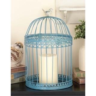12-inch Blue Metal Acrylic Bird Cage (Set of 2)