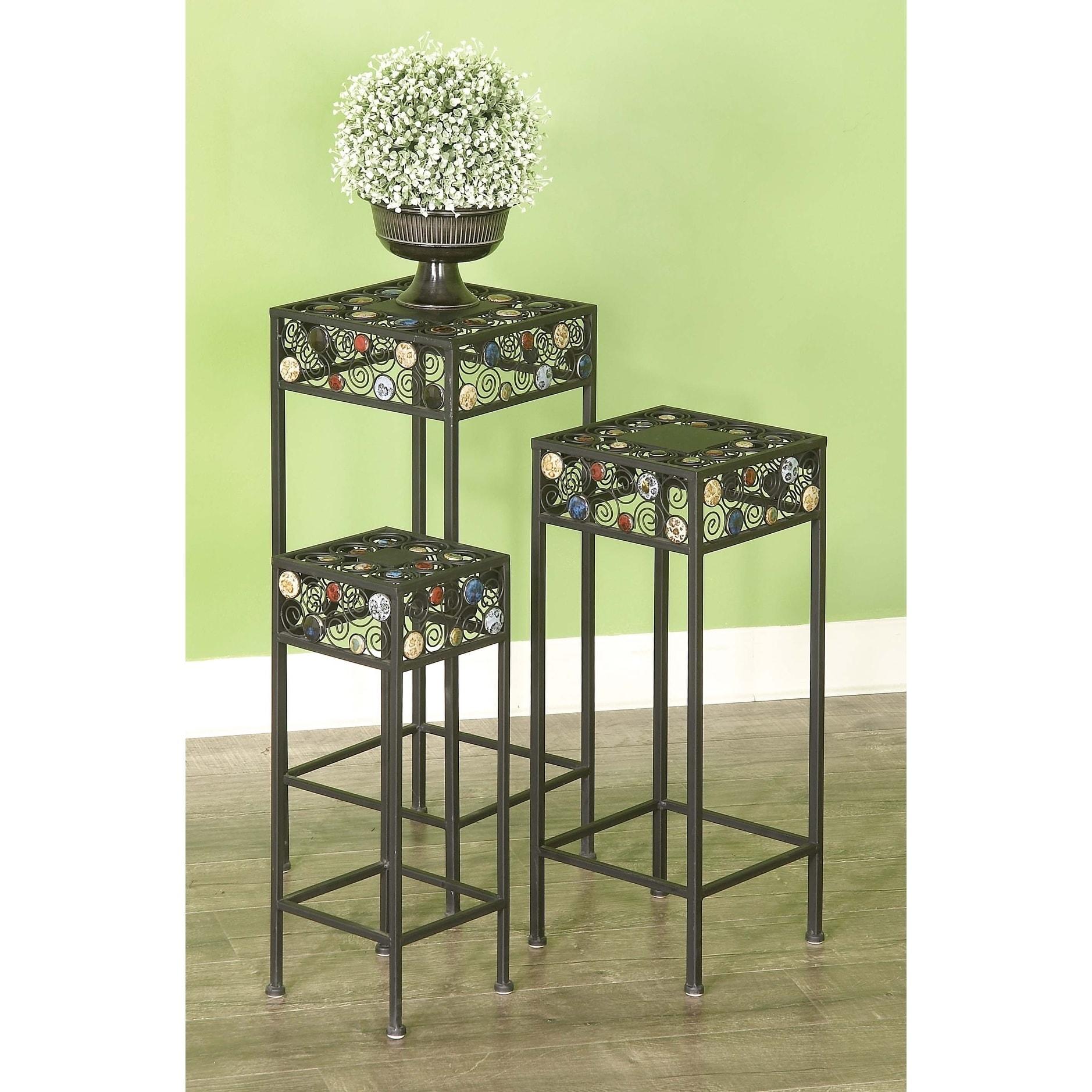 20 Inch Metal Ceramic Plant Stand