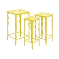 Yellow Metal Plant Stand (Set of 3)