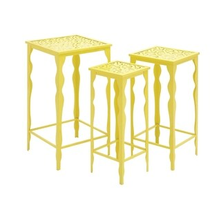 Set of 3 Eclectic 22, 24 and 26 Inch Yellow Plant Stands by Studio 350