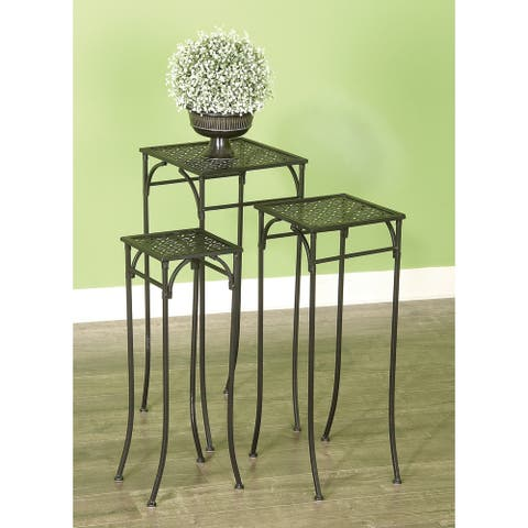 Set of 3 Rustic 24, 26, and 28 Inch Iron Plant Stands by Studio 350