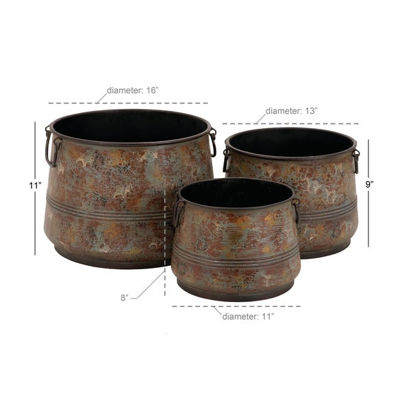 Set of 3 Rustic 8, 9, and 11 Inch Round Metal Planters by Studio 350