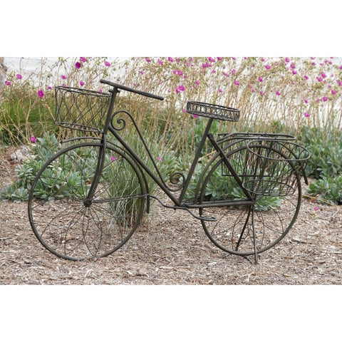 "31-inch Metal Bicycle Planter - 56""w x 6""d x 31""h"