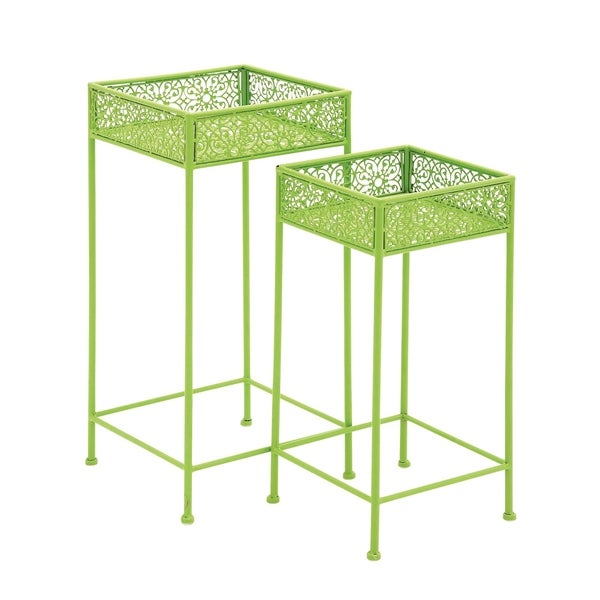 Set of 2 Eclectic 24 and 28 Inch Filigree Plant Stand by Studio 350