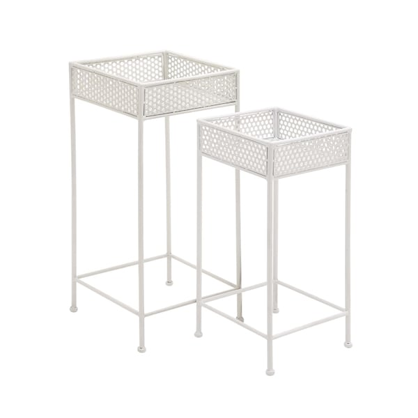 White Metal Plant Stand (Set of 2). Opens flyout.