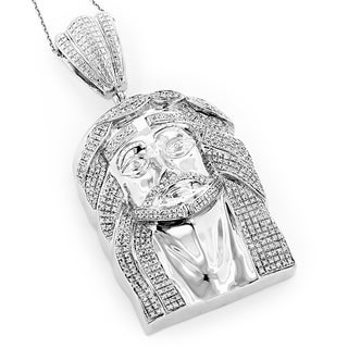Luxurman Hip Hop Jewelry Sterling Silver 1 3/4ct TDW Diamond Jesus Face Necklace