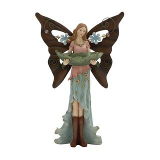 15-inch Polystone Metal Fairy Bird Feeder