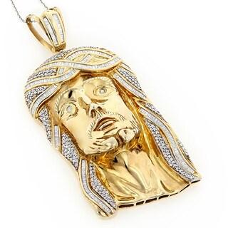 Luxurman Sterling Silver 5ct TDW Diamond Jesus Face Necklace