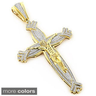 Luxurman 10k Gold Men's 1 5/8ct TDW Diamond Jesus Cross Necklace