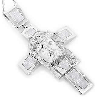 Luxurman Sterling Silver 1 1/2ct TDW Diamond Jesus Face Cross Necklace (H-I, SI1-SI2)