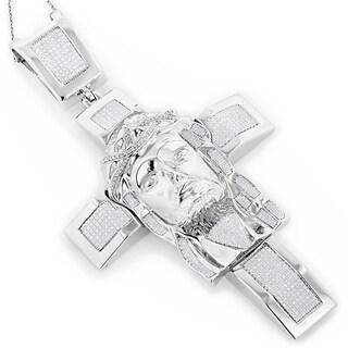 Luxurman Sterling Silver 1 1/2ct TDW Diamond Jesus Face Cross Necklace