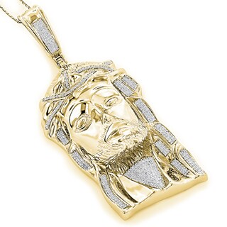 Luxurman Goldplated Sterling Silver 1 3/4ct TDW Diamond Jesus Face Necklace (I-J, SI1-SI2)
