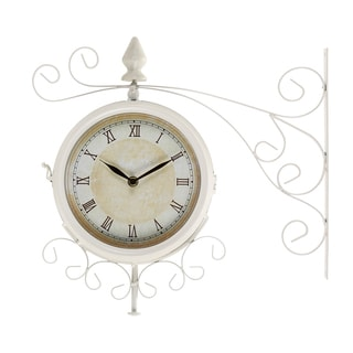 Metal 15-inch Outdoor Double Clock