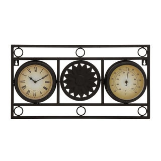 Metal 11-inch Clock and Thermometer Wall Decor