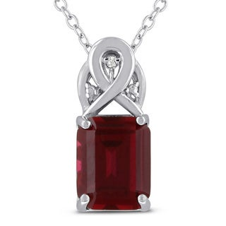 Sterling Silver 3 TGW Emerald-cut Created Ruby Diamond Accent Necklace