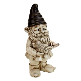13-inch White-Wash Gnome Holding Bird