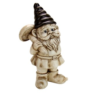 White Wash 13-inch Gnome Holding Mushroom Statue