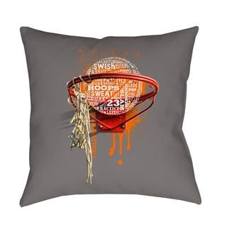 Thumbprintz Basketball Words in Hoop Decorative Pillow