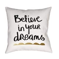 Believe White and Gold Decorative Pillow