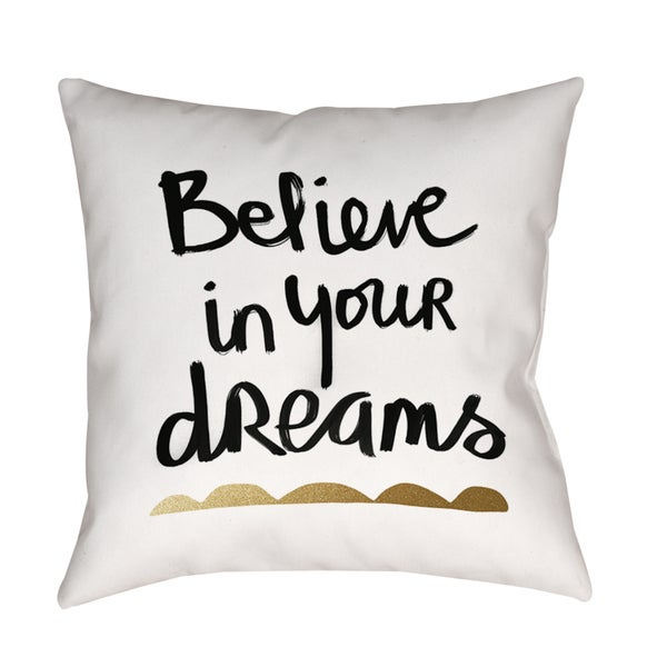 Believe White and Gold Indoor/ Outdoor Pillow
