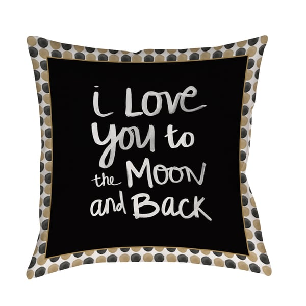 To the Moon' Gold and Black Decorative Pillow