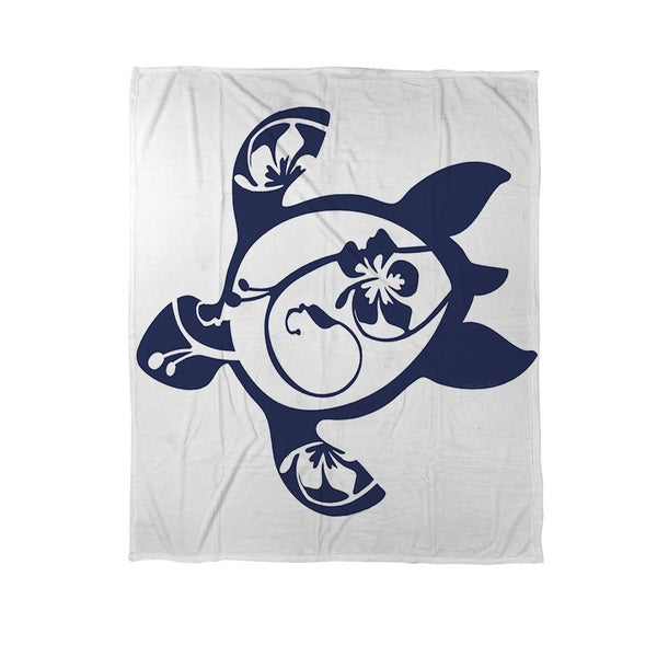 Honu Turtle Navy Coral Fleece Throw