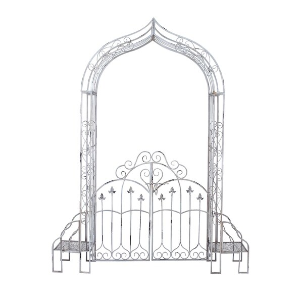 Traditional 91 Inch Arched Iron Garden Gate With Benches by Studio 350