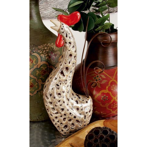 Ceramic Metal Rooster (Set of 2)
