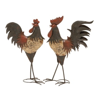 Metal 24-inch Rooster (Set of 2)