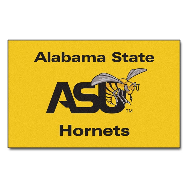 Fanmats Machine-Made Alabama State University Yellow Nylon Ulti-Mat (5' x 8')