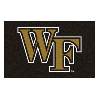 Fanmats Machine-Made Wake Forest University Black Nylon Ulti-Mat (5' x 8')