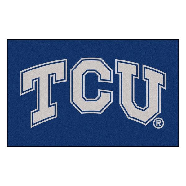 Fanmats Machine-Made Texas Christian University Blue Nylon Ulti-Mat (5' x 8')